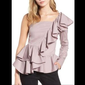 Leith one shoulder ruffle top